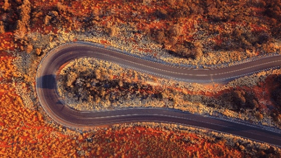 Aerial view of winding road - Divorce Process In Australia - Hickman Family Lawyers Perth